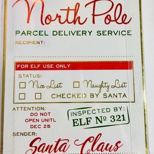 6 Jumbo Xmas Gift Tags North Pole Delivery Elf